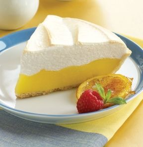 LEMON MERINGUE PIE. No patience required! Simply thaw and serve this classic pie of tangy lemon with a luscious, hand-spread layer of meringue on a flaky pie crust.  #mmmeatshops