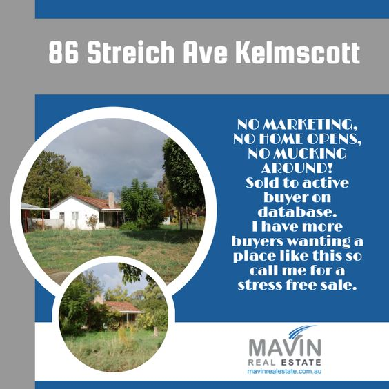 """""""86 #StreichAveKelmscott""""- NO MARKETING, NO HOME OPENS, NO MUCKING AROUND! Sold to active buyer on database. I have more buyers wanting a place like this so call me for a stress free sale. To know more about this property click here: http://goo.gl/IyRHCP Or Contact Rasmus Nielsen at 0466725866"""