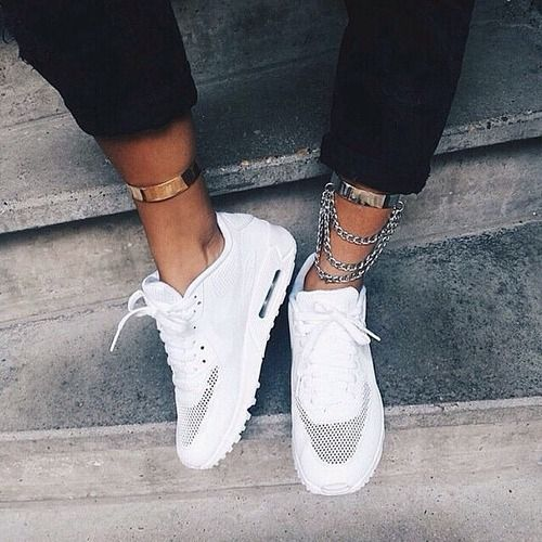 white shoes hyperfuse nike shoes for women girly jewels ankle chain air max  white white trainers nike sneakers gold fashion trendy size 7 in women's  for ...