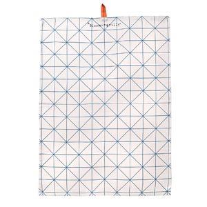 ot de 3 torchons en coton blanc réhaussés d'un motif géométrique, graphique : bleu pétrole, vert vintage et rose fluo. Chaque torchon est griffé Bloomingville et porte un oeillet central