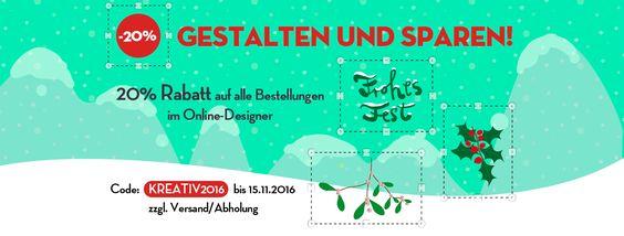 Aktion 20% Rabatt für Produkte aus dem Online-Designer