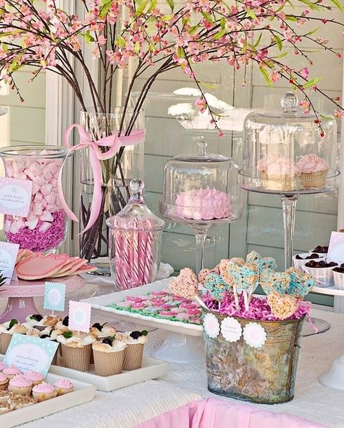 Pink candy table with tree branches vases, a perfect tea party theme... I can't wait to give it a try!