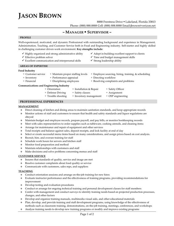 Resume for call center supervisor