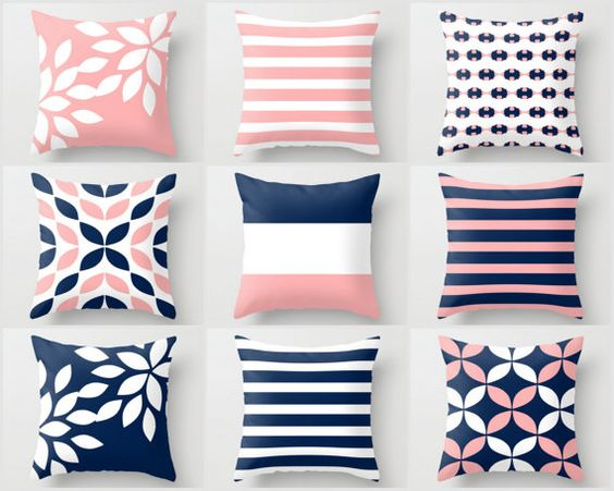 Pink Navy Pillow, Pillow Covers, Cushion Covers, Throw