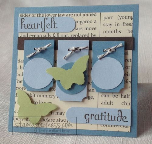"""3x3 mini card with Bitty Butterfly, ticket Duo Builder and 3/4"""" circle punches -- all from Stampin' Up!"""