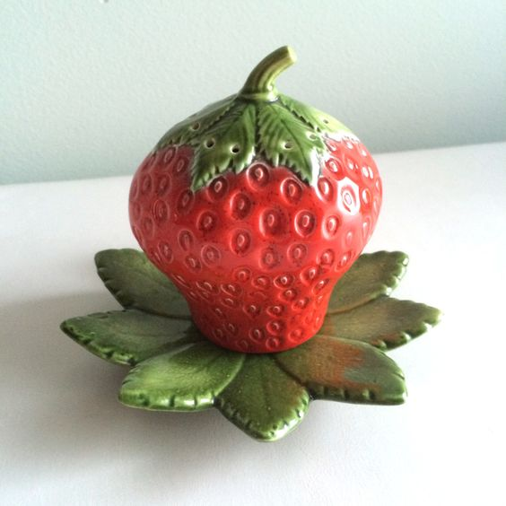 Adorable Ceramic Strawberry Shaker and Tray 1975 by KaleidoscopeModern on Etsy https://www.etsy.com/listing/214318217/adorable-ceramic-strawberry-shaker-and