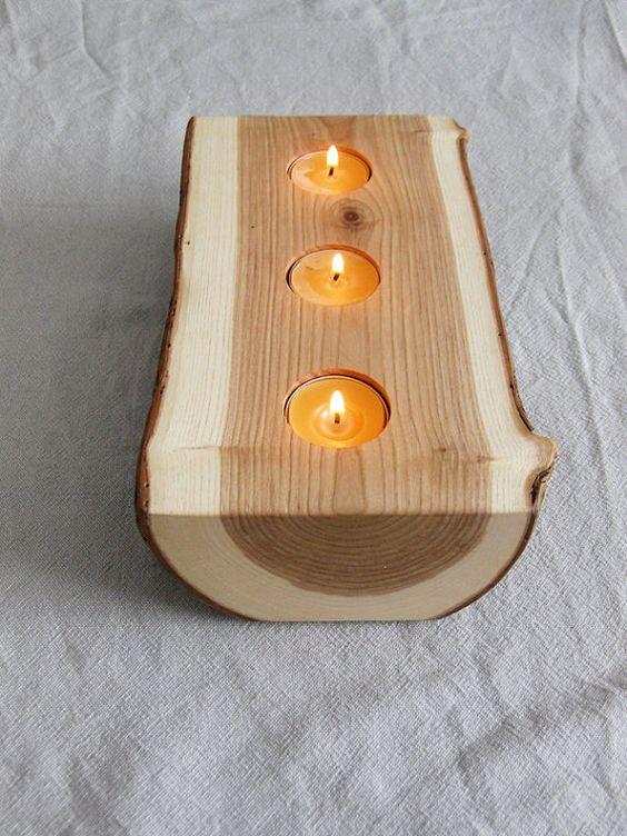 Wood candle holders oil lamps and logs on pinterest for Wooden kerosene lamp holder