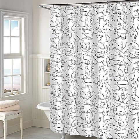 Cats Shower Curtain In White Cat Shower Curtain Bathroom Decor Scandinavian Shower Curtains