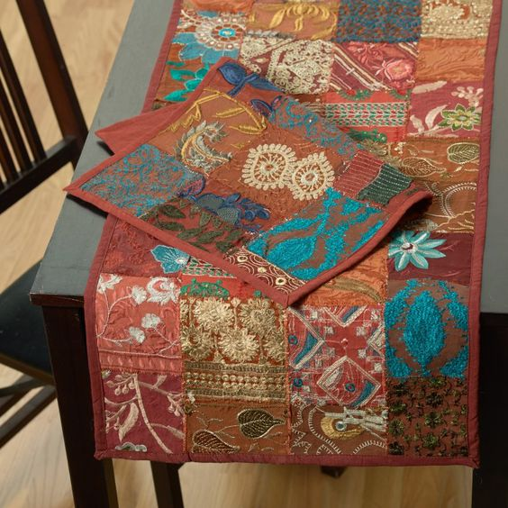 LR Resources Timbuktu Hand Crafted Maroon Sari 80L x 16W in. Table Runner