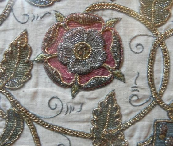 An embroidered Tudor rose on display at Petworth House, Sussex, the Tudors are my ancestry.