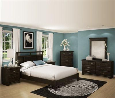 A dark brown bedroom furniture set with an ebony finish