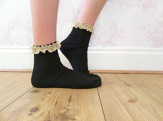 Beige Black Lace Ankle Socks Crochet Lace Socks Wool by FunkyFern