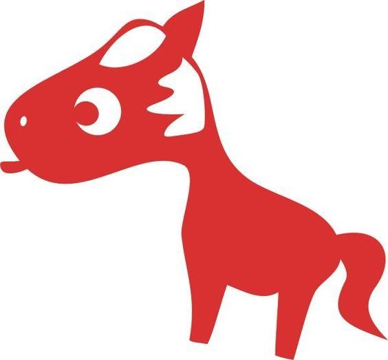 """Pü-Pferd mit Zunge, rot,"""" *Pü-Dorf*, Velours-Motiv zum Aufbügeln - PeppAuf.de"""