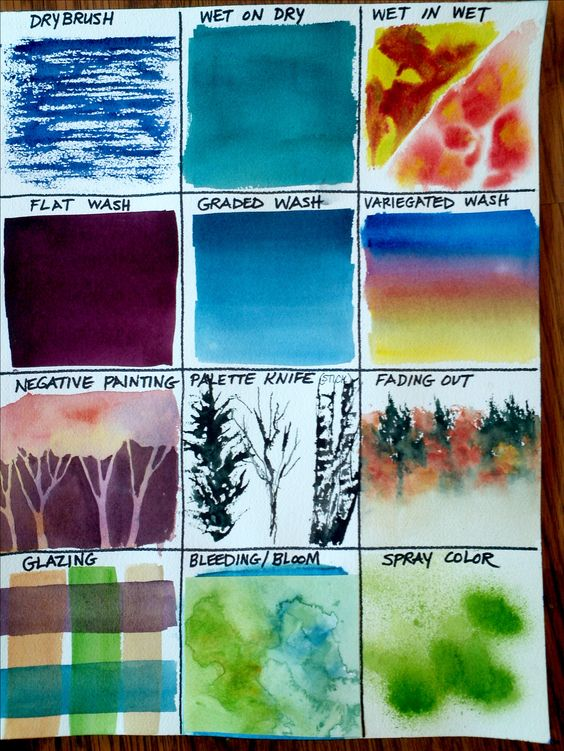 Page 1 of 2 watercolor techniques samples by christy for Watercolor painting samples