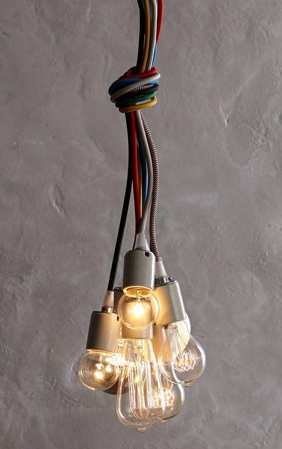 Hanging fabric cord lights...