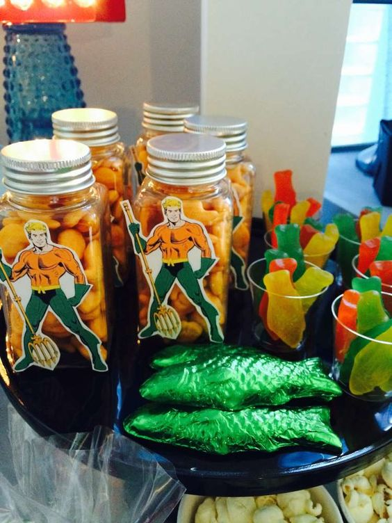 Aquaman treats at a superhero birthday party! See more party planning ideas at CatchMyParty.com!