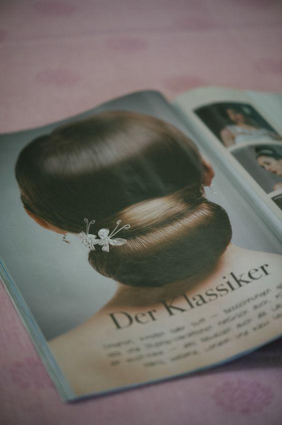 elegant bridal chignon hairstyle, photo by Claire Morgan   via junebugweddings.com