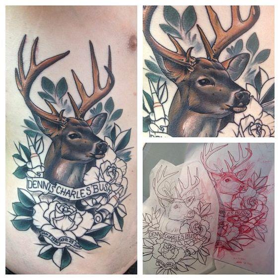 deer tatto by Dixie tattoo by Matthew Hockaday.