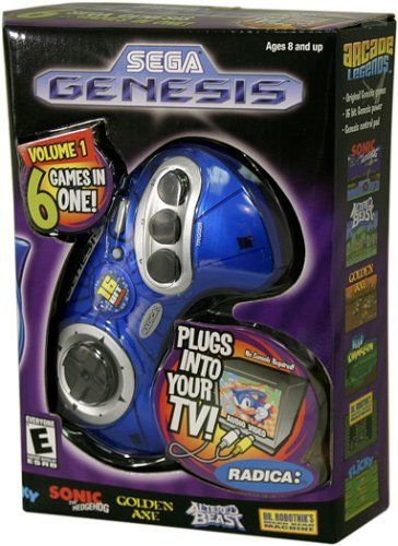 Sega Genesis Radica Plug and Play 6 Games-In-One by Radica Games. $89.98. Play Sega on any standard TV set with this plug in and play game system. Features Include:6 Sega Games in one 6 Sega Games in one Plugs right into your TV (No console is required) 16 Bit Genesis Power Genesis Control Pad