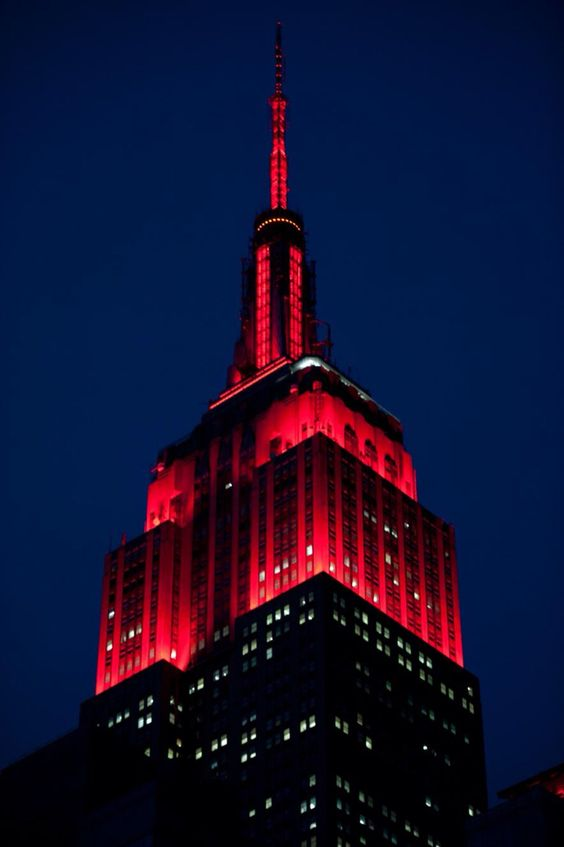 The Empire State Building lights shine red tonight to honor Red Nose Day in partnership with Comic Relief