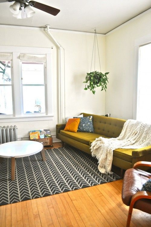 big olive sofa; black and white geometric rug; hanging plant; lovely living room