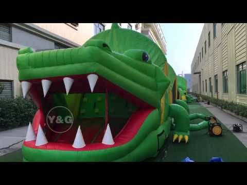 Latest Crocodile Modelling Inflatable Obstacle Game Is Being Exhibited A