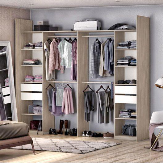 Kit Dressing Effet Chene Naturel Elle Et Lui H 249 X L 300 X P 44 Cm X P De La Dressing Chambre Dressing Amenagement Maison