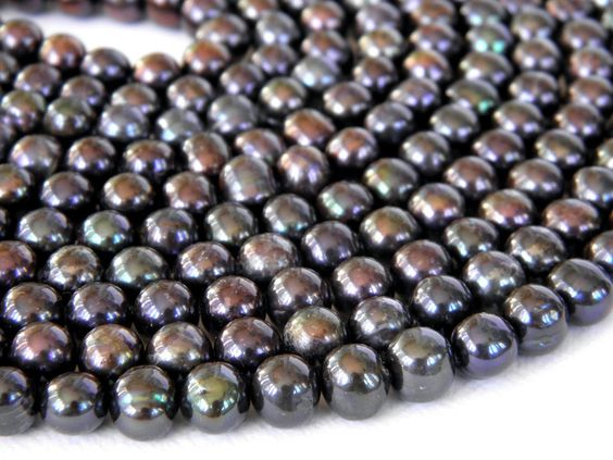 Black Freshwater Pearls 7x8mm Potatoes Full Strand. $9.88, via Etsy.