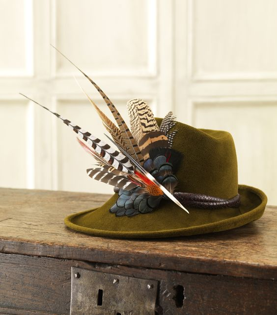Phillip Treacy for Purdey - Velour Sidesweep Hat With Leather Band And Feathers:
