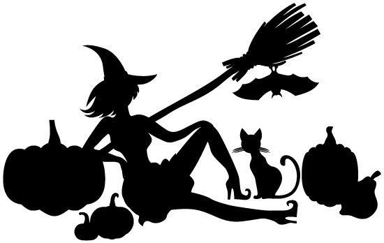 Silueta de bruja y calabaza de Halloween