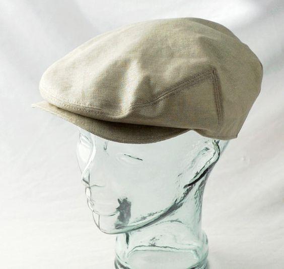Flat Cap in Glazed Linen : Mens Womens Hats by rocksandsalt