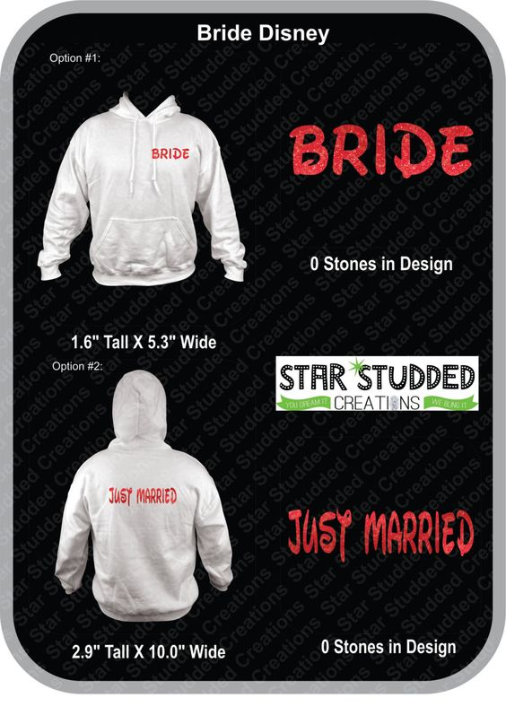 DISNEY BRIDE & GROOM Matching hoodies!  You can customize in Any Colors you want! Even Glitter! by StarStuddedCreate on Etsy