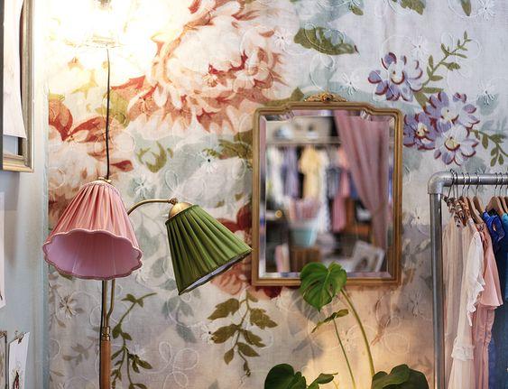 "The ""Blossom"" Wallpaper in the vintage store ""Vintagefabriken"" Se the wallpaper http://www.mrperswall.com/wall-murals/blossom-p162101-8"