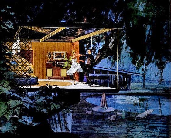 Ces peintures ont étés commandées par Motorola en 1961 pour imaginer le futur dans le cadre de leur campagne «Fresh from Motorola… new leader in the lively art of electronics» , c'était pas très inventif, tout le monde à l'air de danser, mais j'aime beaucoup les peintures.: