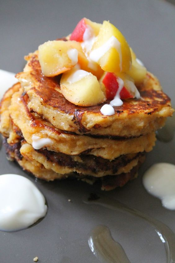 Get the recipe for Paleo Sweet Potato Pancakes topped with Cinnamon Apple - perfect healthy brunch or breakfast idea!  www.iamintothis.com