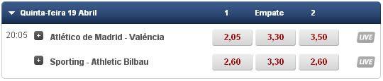 As quotas da Liga Europa dia 19  de Abril 2012. Sporting, Bilbau, Atlético, Valência.
