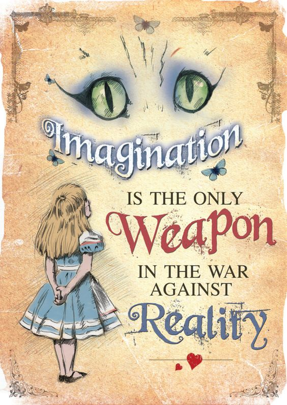 Alice in Wonderland A4 Printable Poster Art - Mad Hatter Tea Party Imagination is the only Weapon Quote: