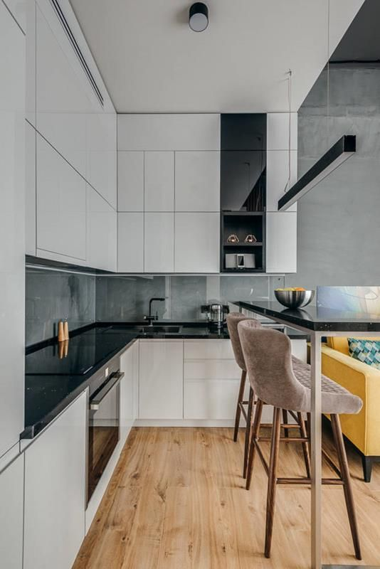 30 Kitchens With White Cabinets And Black Granite Photos In