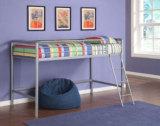 loft bunk bed teens bedroom furniture kids room space saver dorm beds ladder cot dhp