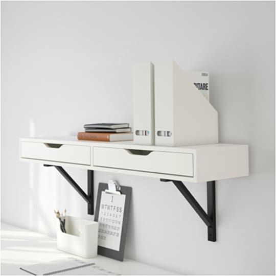 These 12 Space Saving Wall Mounted Desks Are Just What Your Wfh Setup Is Missing Drawer Shelves Ikea Ekby Shelves