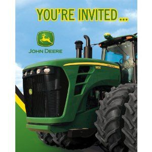 John Deere Birthday Party Invitations, 8 Count by Party Destination. Save 14 Off!. $6.00. 8 count. John Deere themed party invitations. Perfect supplies for a ranch or farmed themed birthday party. Folded note style. See Creative Converting's coordinating line of party goods and dinnerware, paper plates, napkins, cupcake toppers, hanging decorations, banners, invitations, loot bags and more. From the Manufacturer                Throw a big green party. The big green tractors in ou...