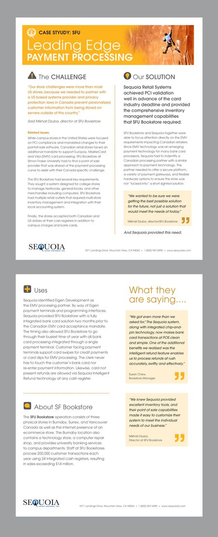 Designed a case study template for Sequoia Retail Systems, Inc - time study template