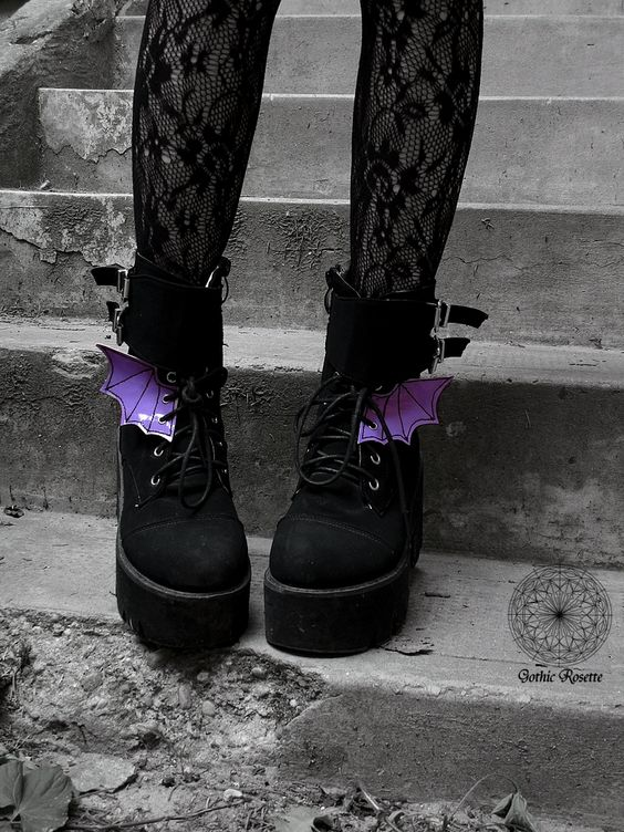 shoelace shoe charm accessory goth clothing kawaii wing boots shoe wings leather bat wing cosplay pastel goth BAT WINGS shoe charms