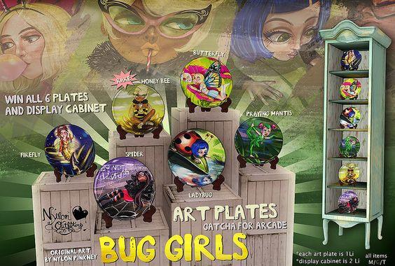 (NO) Bug Girl art plates - for arcade