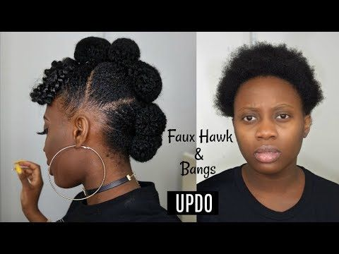 Easy Protective Style Faux Hawk Updo With Afro Bangs On Short Natural Hair Tutorial Youtube Short Natural Hair Styles Natural Hair Styles Faux Hawk Updo
