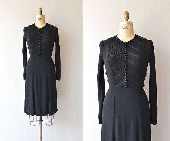 Eastwick dress  1930s dress  black vintage 30s dress by DearGolden