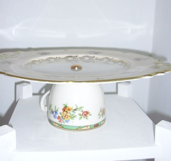 Pink & gold cake stand with floral cup base