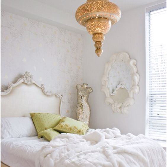 : Decorating Idea, Dress Form, Bedroom Design, Bed Frame, Light Fixture, White Bedroom, White Room