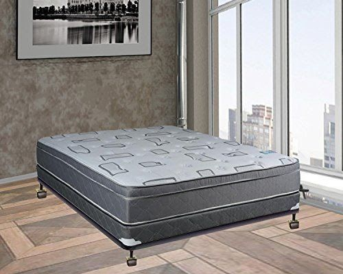 Spring Solution 10 Inch Medium Plush Innerspring Eurotop Pillowtop Mattress And 4 Inch Box Spring Foundation Set No Assembly Noassembly Pillow Top Mattress Plush Mattress Bed Without Box Springs