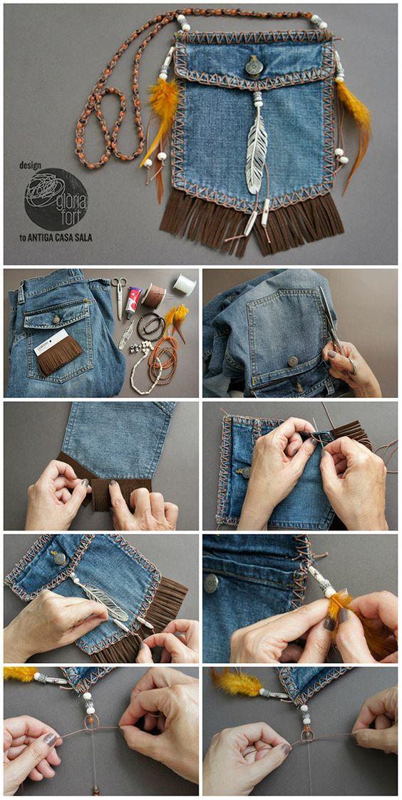 как сшить сумку из кармашка джинс